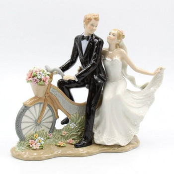 Newlywed Couple on a Bike Porcelain Sculpture
