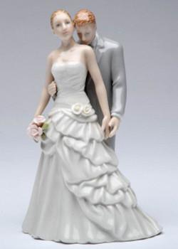 Groom Kissing Bride Porcelain Wedding Figurine Sculpture