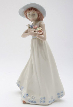 Girl with Hat Holding Flowers Porcelain Sculpture by Nadal