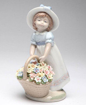 Gathering a Bouquet of Flowers Porcelain Sculpture by Nadal
