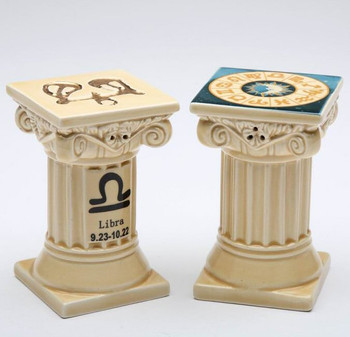 Zodiac Libra Porcelain Salt and Pepper Shakers, Set of 4