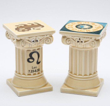 Zodiac Leo Porcelain Salt and Pepper Shakers, Set of 4