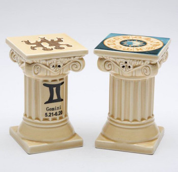 Zodiac Gemini Porcelain Salt and Pepper Shakers, Set of 4