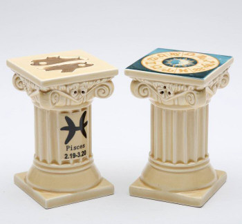Zodiac Pisces Porcelain Salt and Pepper Shakers, Set of 4