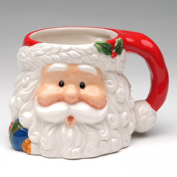 Jolly Santa Porcelain Mugs, Set of 4