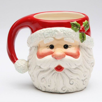 Santa Claus with Holly Porcelain Mugs, Set of 4