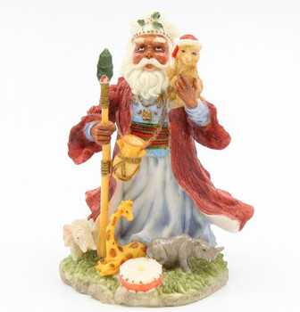 African Santa Around the World Porcelain Sculptures, Set of 2