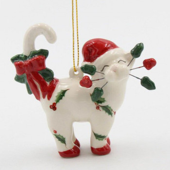 Whisker Cat Wearing a Santa Hat Christmas Tree Ornaments, Set of 4