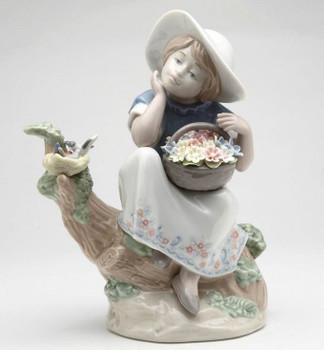 Girl Spring Time Dreaming Porcelain Sculpture by Nadal