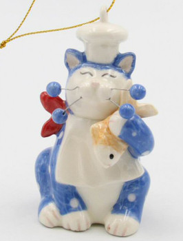 Whisker Cat Chef Christmas Tree Ornaments, Set of 4
