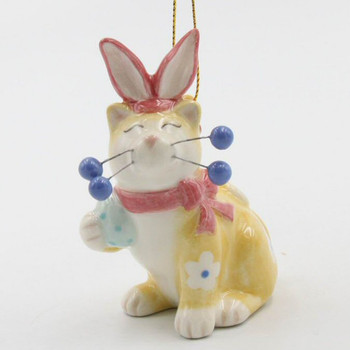 Whisker Cat Easter Bunny Christmas Tree Ornaments, Set of 4