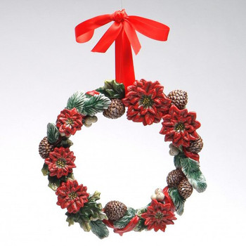 Poinsettia Wreath with Red Ribbon Christmas Tree Ornaments, Set of 2