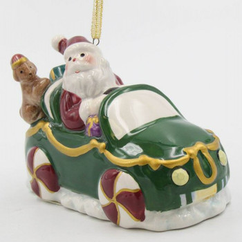 Santa Driving a Car Christmas Tree Ornaments, Set of 4
