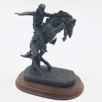 Cowboy on a Rearing Horse Porcelain Sculpture