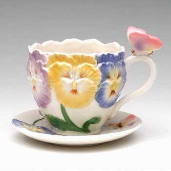Pansy Flower Porcelain Cups and Saucers, Set of 4