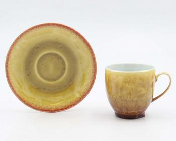 Crystalline Amber Coffee Mugs and Saucers, Set of 4