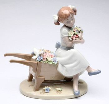 Cuddle Me with Flower Blossoms Porcelain Sculpture by Nadal