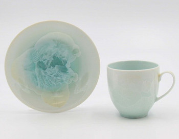 Crystalline Green Coffee Mugs and Saucers, Set of 4