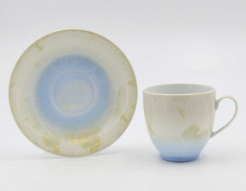 Crystalline Light Amber with Sky Blue Coffee Mugs and Saucers, Set of 4