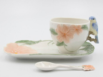 Bluebird Apple Blossom Porcelain Cups, Saucers and Spoons, Set of 6
