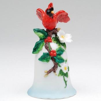 Cardinal Bird Porcelain Bells, Set of 4