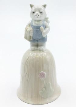 Male Cat Porcelain Bells, Set of 4