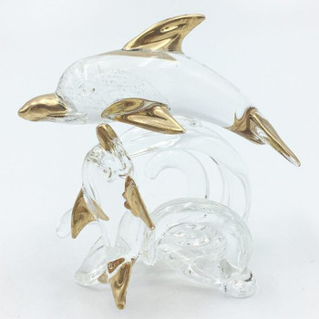Two Dolphins Glass Sculpture