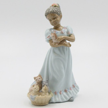 African American Girl with Kittens in a Basket Porcelain Sculptures, Set of 2