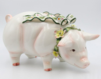 Large Standing Pig Porcelain Sculpture