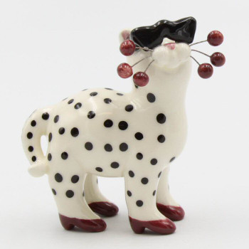 Miniature Whisker Cat with Sun Glasses Porcelain Sculpture