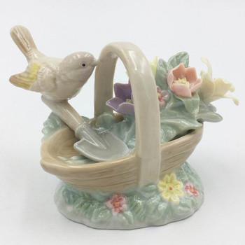 Miniature Goldfinch Bird with Floral Basket Porcelain Sculpture