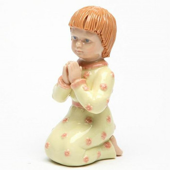 Miniature Young Girl Praying Porcelain Sculpture