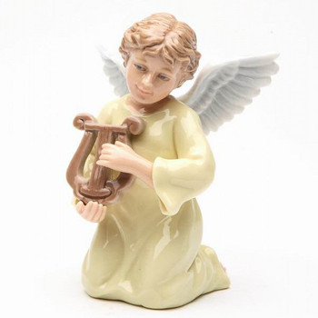 Miniature Angel with a Harp Porcelain Sculpture