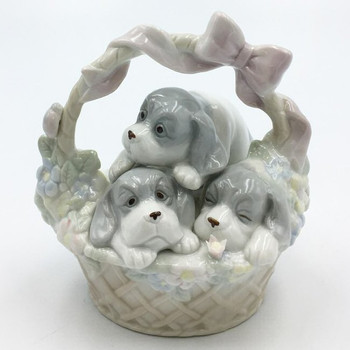 Miniature Three Dogs in a Basket Porcelain Sculptures, Set of 2