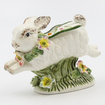 Miniature Running Rabbit Porcelain Sculptures, Set of 4