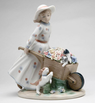 Girl with Flower Wagon w/ Kittens & Puppy Porcelain Sculpture by Nadal