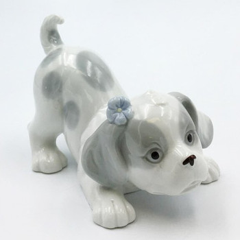 Miniature Four Dogs Stretching Porcelain Sculptures, Set of 4