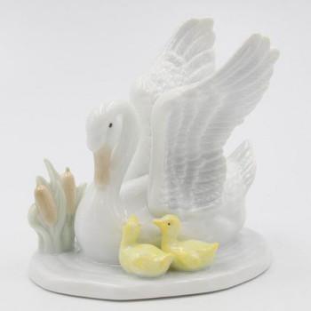 Miniature Swan Bird with Babies Porcelain Sculptures, Set of 4