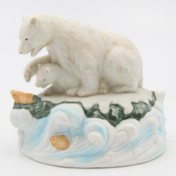 Polar Bear with Her Cub Porcelain Musical Music Box Sculptures, Set of 2