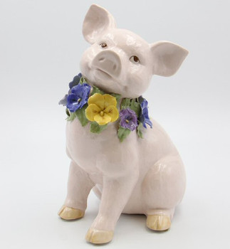 Pig Wearing Pansy Flowers Porcelain Musical Music Box Sculpture