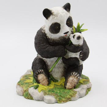 Mom And Baby Panda Bear Porcelain Sculpture
