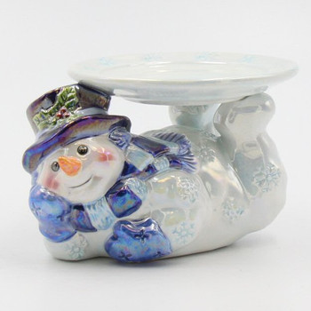 Snowman Laying Down Porcelain Pillar Candle Holders, Set of 2