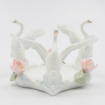 Swan Bird Porcelain Pillar Candle Holders, Set of 2