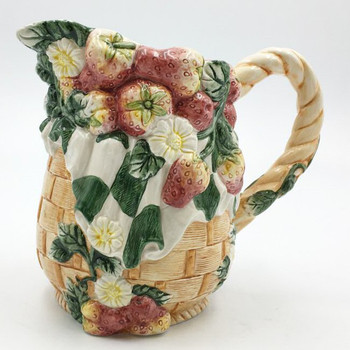 Strawberry Fruit and Flowers Ceramic Pitcher