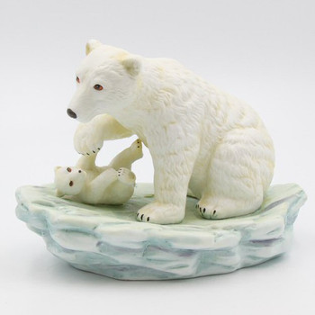 Polar Bear Mon And Cub Porcelain Sculpture