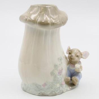 Mouse and Mushroom Porcelain Vases, Set of 2