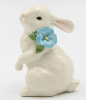 Standing Bunny Rabbit with Flower Porcelain Sculpture