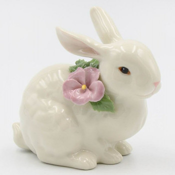 Sitting Bunny Rabbit with Flower Porcelain Sculpture