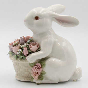 Bunny Rabbit Holding Flower Basket Porcelain Sculpture