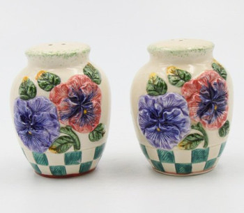 Pansy Flower and Checkers Porcelain Salt and Pepper Shakers, Set of 4